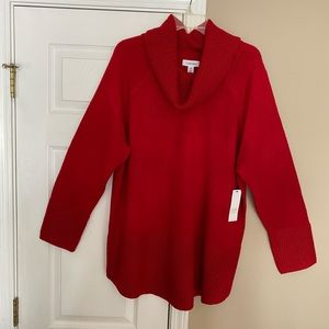 Calvin Klein Red CowlNeck knit long sleeve Sweater